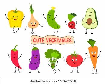 Cute vegetables set in cartoon style