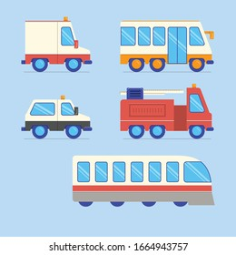 cute vehicle collection. vector illustration