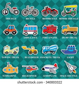 Cute vehicle types in sticker style on square graphic background. In vector format.