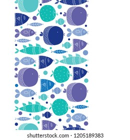 Cute vertical seamless border with  fish and polka dot.