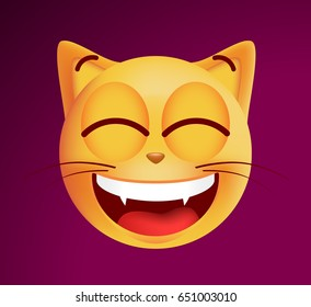 Cute Very Happy Emoticon Cat on Dark Background. Isolated Vector Illustration
