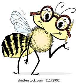 Cute and very smart cartoon bee. Vintage 1950s detailed black and white from hand-drawn pen & ink includes full colorization.