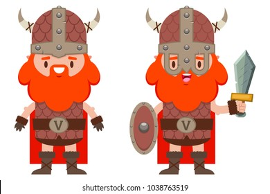 Cute viking with a beard in a medieval helmet, with shield and sword. Vector cartoon flat character set of man warriors isolated on white background.