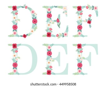 Cute vintage alphabet letters with hand drawn rustic flowers isolated on white background