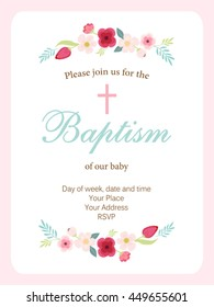 Cute vintage Baptism invitation card with hand drawn flowers for your decoration