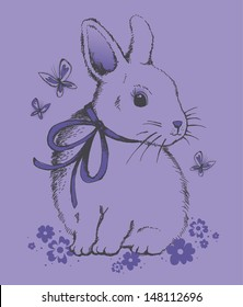 Cute Vintage Bunny and Butterflys