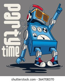 cute vintage dancer robot, party, vector