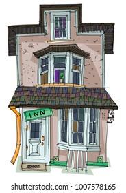 Cute vintage facade. Entrance. Cartoon