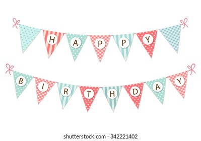 Cute vintage festive fabric pennant banner as bunting flags with letters Happy Birthday in shabby chic style