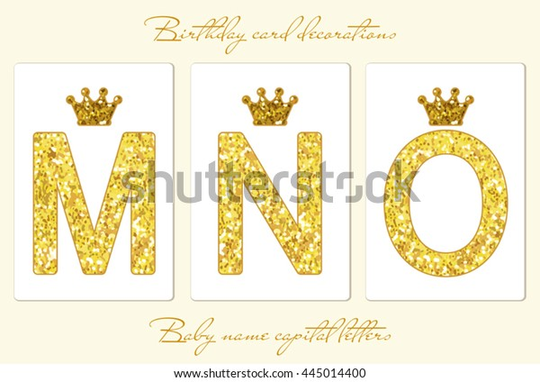 Cute Vintage Golden Glitter Capital Letters Stock Vector (Royalty