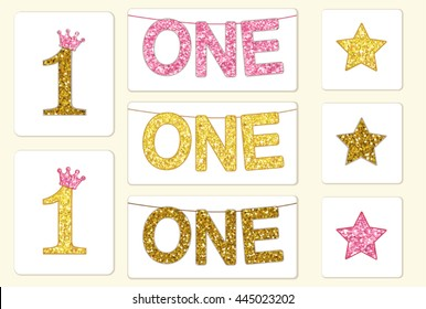 Cute vintage golden glitter number one with crown and bunting with word ONE, can be used as baby first birthday card