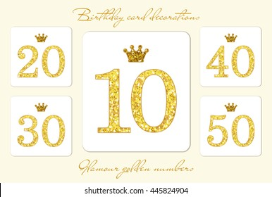 Cute vintage golden glitter numbers with crown can be used as birthday card, anniversary card etc