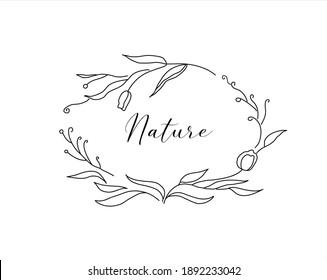 Cute vintage hand drawn decorative ellipse floral doodle frame. vector illustration. best for invitation greeting card logo or social media design template