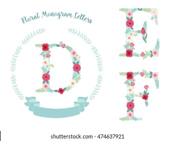 Cute vintage laurel wreath with monogram letters decorated with hand drawn rustic flowers
