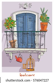 Cute vintage mediterranean balcony decorated with plants and flowers. South European tradition architecture. Cartoon.