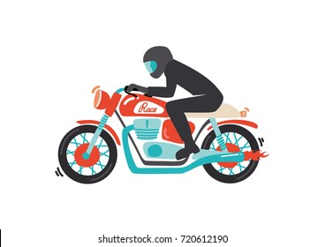 Cute vintage racing motorcycle with driver vector illustration, cartoon style. Isolated on white background