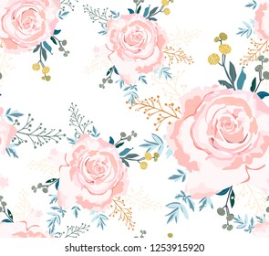 Cute vintage seamless pattern with big pink roses. Romantic watercolour floral texture with roses. Vector pattern.