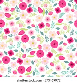 Cute vintage seamless pattern with hand drawn rustic flowers for your decoration