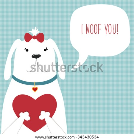 Cute Vintage Valentines Day Card Puppy Stock Vector Royalty Free