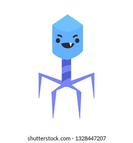 Cute virus smiles wickedly. Bacteriophage. Isolated vector illustration