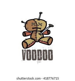 Cute Voodoo doll icon over a white background, vector illustration