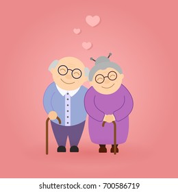 Cute walking grandparents. Happy Grandparent's day. Elderly people.