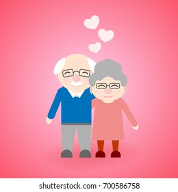 Cute walking grandparents. Happy Grandparent's day. Elderly people with hearts.