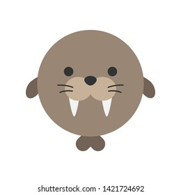 Cute walrus round graphic vector icon. Brown walrus with teeth and flippers, animal head, face illustration. Isolated.