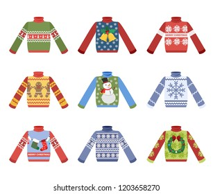 Cute warm christmas sweater for winter weather set. Collection of xmas pullover or jumper. Holiday cozy outfit. Vector illustration in cartoon style.