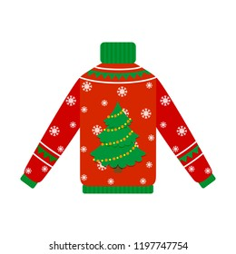Cute warm red christmas sweater for winter weather. Xmas pullover or jumper with tree. Holiday cozy outfit. Vector illustration in cartoon style.