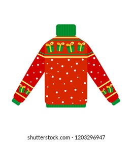 Cute warm red christmas sweater for winter weather. Xmas pullover or jumper with goft box. Holiday cozy outfit. Vector illustration in cartoon style.