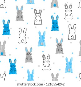 Cute watercolor bunny pattern. Seamless vector background with rabbits for kids design.