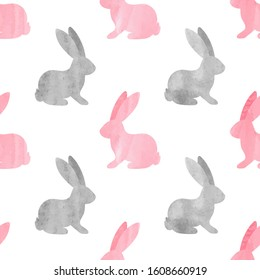 Cute watercolor bunny pattern. Seamless vector background with rabbits