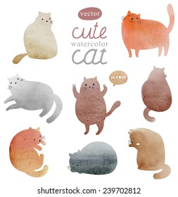 Cute watercolor cats vector set