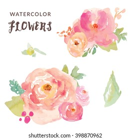 Cute Watercolor Flowers Vector Bouquets