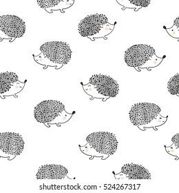 Cute watercolor hedgehogs seamless pattern. Vector background