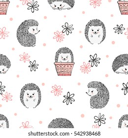 Cute watercolor hedgehogs seamless pattern. Vector kids background.