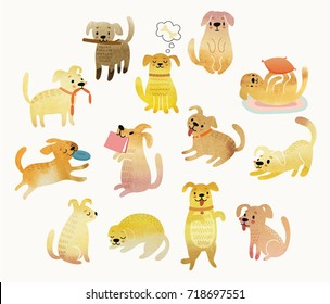 Cute Watercolor yellow dogs. Vector illustration.