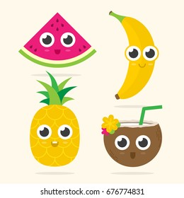 Cute watermelon, banana, pineapple and coconut with happy faces