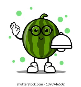 cute watermelon cartoon mascot character funny expression holding food cover