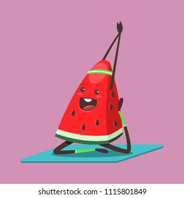 Cute Watermelon doing yoga exercise. Funny vector cartoon fruit character isolated on a background. Eating healthy and fitness.