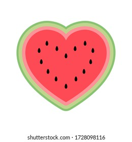 Cute watermelon heart isolated on white background. Heart shaped half a watermelon for Valentines day. Flat cartoon style in bright colors. Vector illustration