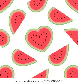 Cute watermelon hearts seamless pattern on a white background. Flat cartoon style. Can be used as a wallpaper, wrapping paper, textile print etc. Summer style vector illustration