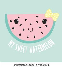 cute watermelon illustration, vector, slogan