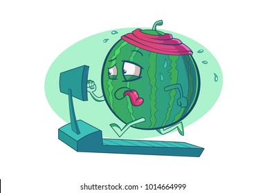 Cute watermelon running over the trademill. Vector illustration. Isolated on a white Background.