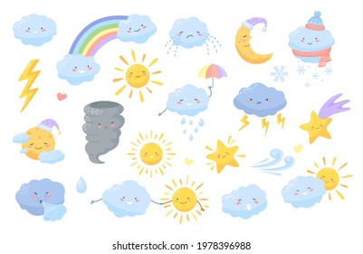 Cute weather. Cartoon weather characters with happy faces. Clouds, lightning, rainbow, sun, moon, star. Kawaii meteorology vector icons. Crying cloud, holding umbrella for forecast