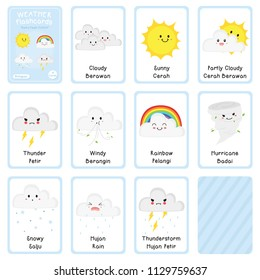 Cute weather flashcards vector design. printable weather bilingual flashcard, English Indonesian language, cartoon vector.