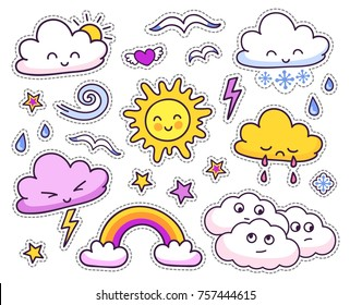 Cute weather forecast. Emotional sun and clouds. Vector set.
