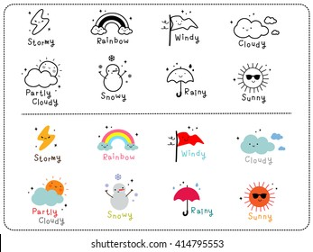 Cute weather icons, outline and colorful cute icon.