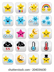 Cute weather kawaii buttons, star, rainbow, moon, snowflake, thunder and cloud